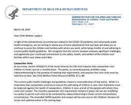 March 19 Children's Bureau Letter on videoconference visits