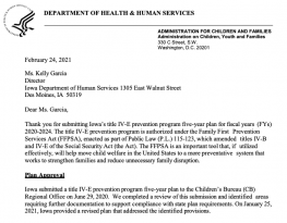 image shows text that reads: Iowa's Five-Year Title IV-E Prevention Program Plan
