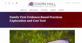 image shows text that reads: Family First Evidence-Based Practices Exploration and Cost Tool