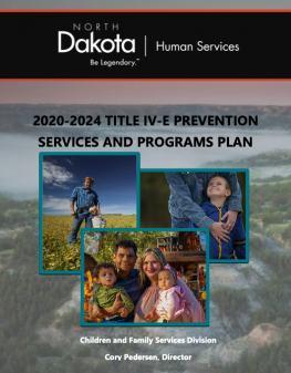 Text shows image of front cover of North Dakota's Title IV-E Prevention Program Plan