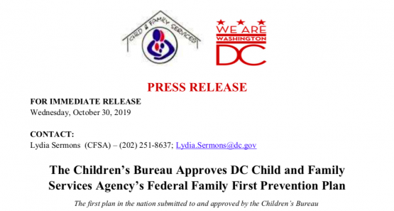 Screenshot of Press Release for DC Family First Act Prevention Plan Approved
