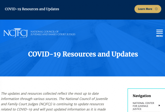 Images shows the NCJFCJ COVID-19 Resources webpage