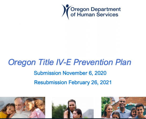 image shows text that reads: Oregon's title IV-E prevention plan