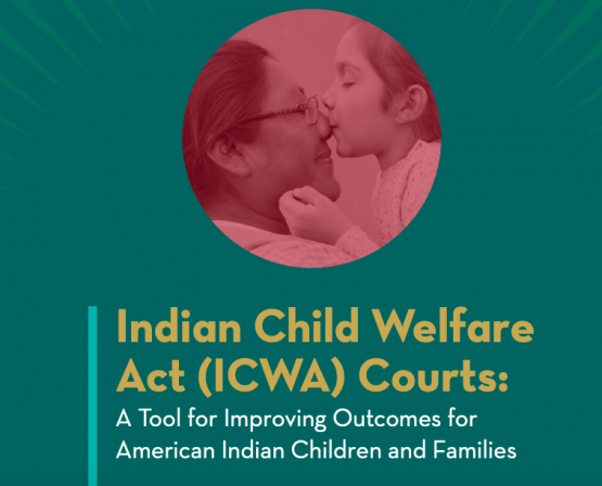 image shows text that reads: Indian Child Welfare Act (ICWA) Courts: A Tool for Improving Outcomes